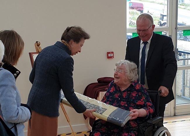 HRH the Princess Royal being gifted Harris Tweed