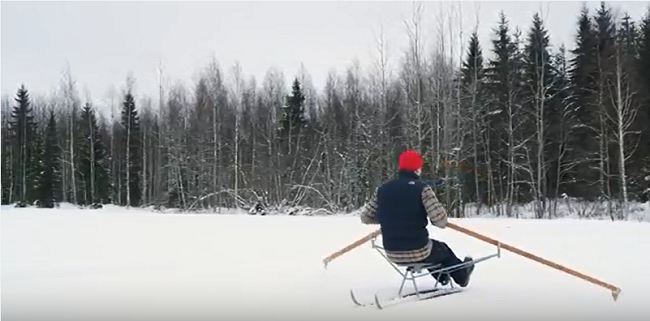 snow rower on snow