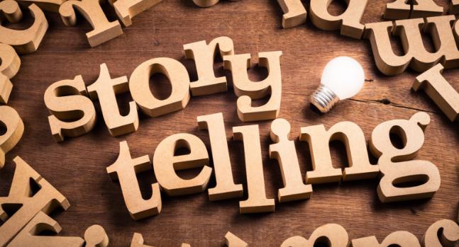 Storytelling written in wooden letters