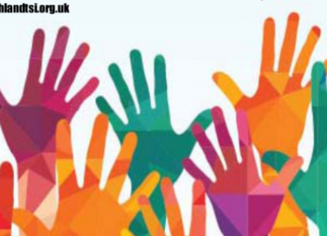 graphic showing multi-coloured hands raised