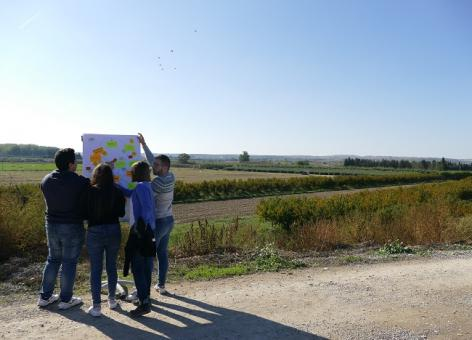 GRoup of people looking at board with post it notes outside in the countryside