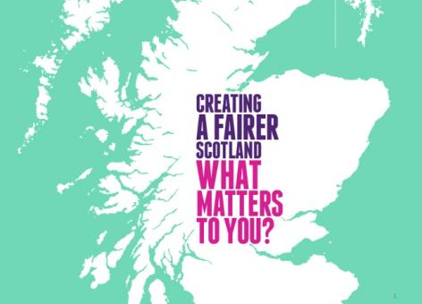 Graphic with map of Scotland and text: Creating a fairer Scotland, what matters to you?