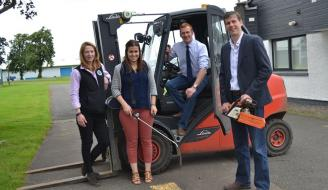 Left to Right Lynne Ferguson (Tayforth Machinery Ring), Lynne Macarthur (Highlands Machinery Ring), Stuart Jamieson (SAYFC), Michael Bayne (Borders Machinery Ring)