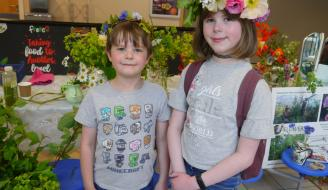 Two young attendees wearing their flower crowns at the Alive with local food launch