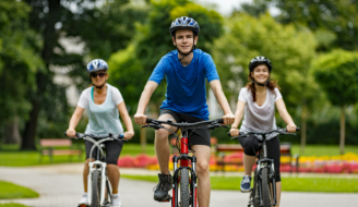 young people on bikes in the park