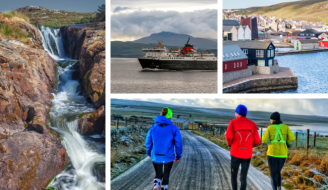 Collage of islands photos: Western Isles waterfall, ferry, Lerwick, runners in Orkney