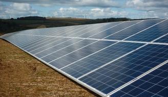 solar panels on a farm