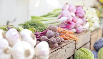 Seasonal Vegetables at a market stall