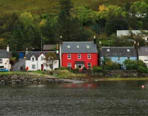 Houses on waterside