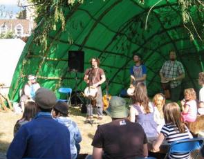 Small stage with audience