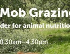 Field Lab: Mob Grazing graphic, with event details and farm background