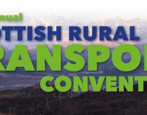 Scottish Rural Transport Convention text over rural landscape
