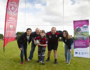 Pictured from From L to R - Mairi Gougeon MSP, Minister for Rural Affairs and the Natural Environment; Robert Tough (Kaylagh's dad), Kaylagh; Mike Reid (Brechin RFC Chairman and coach); Kim Ritchie (Angus LEADER, assistant coordinator). Photo courtesy of ANGUS PICTURES
