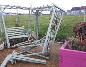 The Knowe garden after vandalism