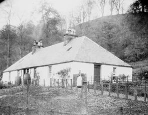 Black and white photograph of house