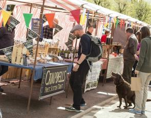 Moffat Farmers' Market - customer at market stall