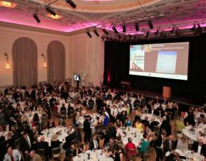 Charity Awards ceremony - birds eye view of tables and stage