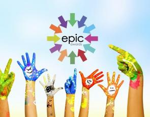 Epic Awards logo and hands in the air