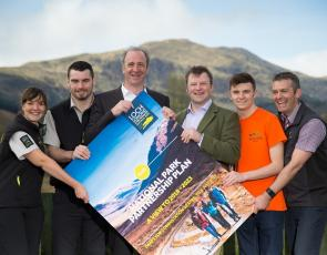 Gill Walker, Andy Biddulph, Gordon Watson, James Stuart, Ben Anderson and Jamie Proudfoot with large version of park plan