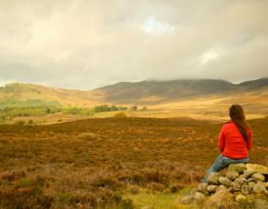 Person sitting on rocks in rural landscape