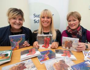 RSABI staff with charity Christmas cards