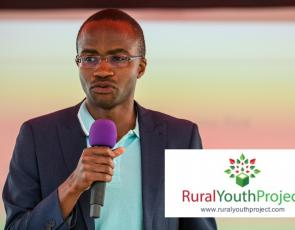 GrowBiz Enterprise Facilitator Bravo Nyamudoka speaking at the Rural Youth Project Ideas festival 2018