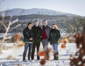 Last year's Trees for Life Skills for Rewilding trainees (left-right) Nick Kinnegan, Callum Fraser, Tim Buchan, Rhona Duncan at Dundreggan Conservation Estate © Alex MacLeod, Trees for Life