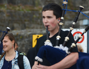 person playing bagpipes