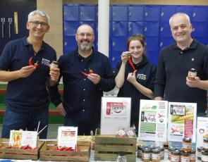 Picture shows Richard Boddington from The Hub G63, Killearn based producer Gary McAlpine from Foragers Foods, Ruth Glasgow from The Hub G63 and Mark Ruskell MSP.