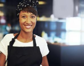 Picture of business woman in cafe