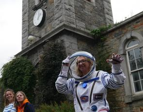 Jude Crooks in spacesuit outside Johnston school
