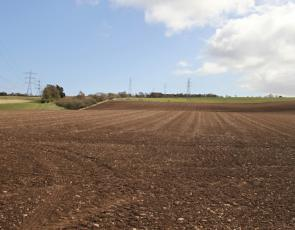 Freshly sown field, Balrobert Farm, near Inverness.
