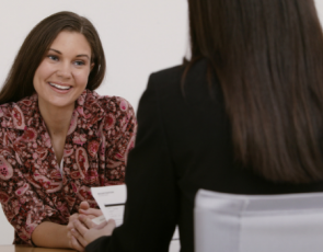 Woman interviewing woman
