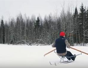 snow rower on snow