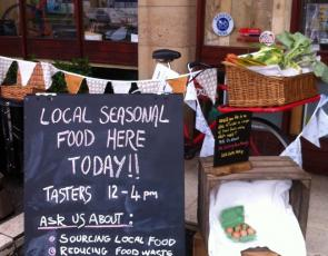 Picture of board advertsing locally produced food