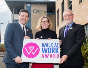 Jamie Hepburn joins Ian Findlay, Chief Officer at Paths for All, and Lesley Glen, Chief Operating Officer at ICAS, to launch the Walk at Work Award.