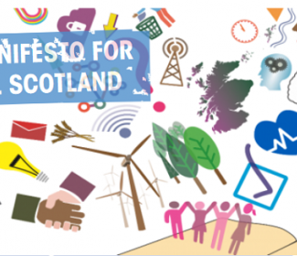 Graphic with text: a Manifesto for Rural Scotland